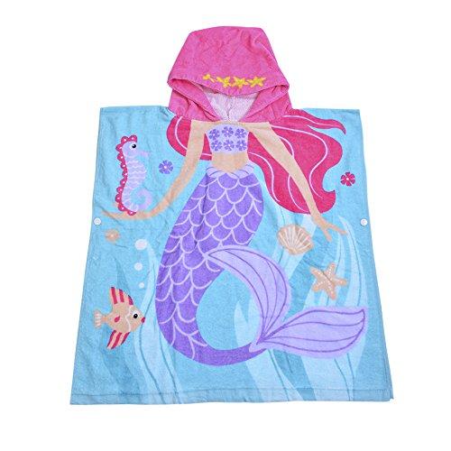 laamei Algodón Poncho Encapuchado Toalla de Baño Playa Transpirable Albornoces de Dibujos Animados Delfín Infantiles (60x58cm)
