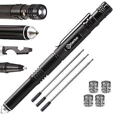 Tactical Pen – Self Defense Weapons – Tactical Gear and EDC – Glass Breaker +LED Flashlight +Ballpoint Pen + Multi-Tool + Bottle Opener – Police Military SWAT Gear – 3 Black Refills + 4 Battery Sets