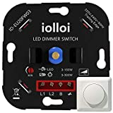 iolloi LED-Dimmer-Schalter, Drehdimmer Unterputz Dimmschalter für Dimmbare LEDs 3–150 W und Halogen 3–300 W, weiß,3 Jahre Garantie