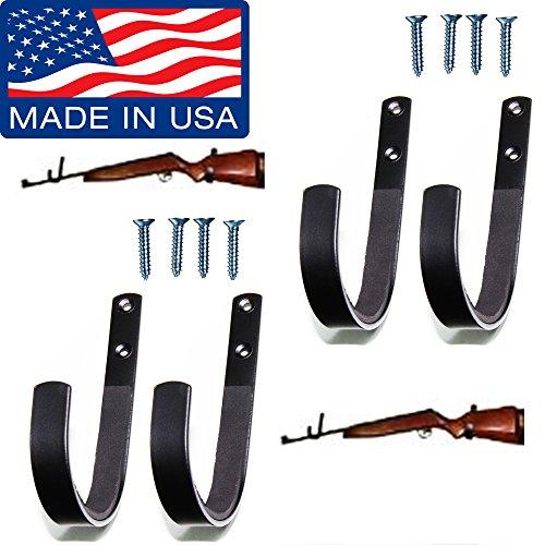 Johnson Brother Gun Rack Shotgun Hooks Rifle Hangers Archery Bow Felt Lined Wall Mount Storage (Handmade in The U.S.A.) 2 Packs