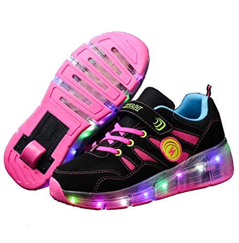 Recollect LED Rollschuh Schuhe Kinder LED Lichter Blinken Einstellbare Räder Technologie Skateboardschuhe Gymnastik Running Turnschuhe für Jungen Mädchen,Rosa,EU 39