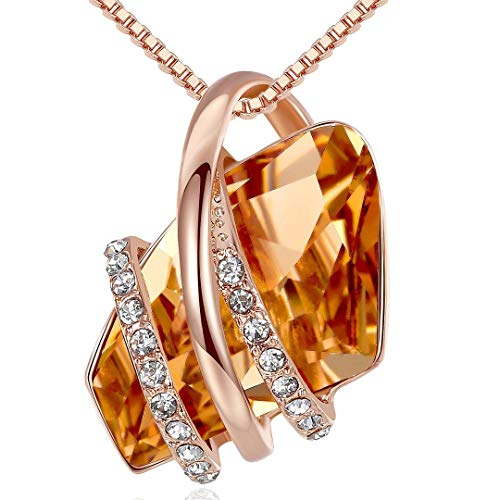 Leafael Wish Stone Pendant Necklace with Amber Brown Birthstone Crystal for November, 18K Rose Gold Plated, 18