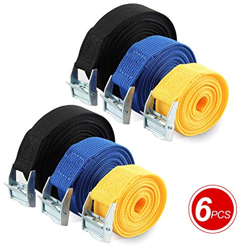 Ratchet Straps,6 Pack - Tie Down Straps,Adjustable Lashing Straps,Heavy Duty Tensioning Belts with Clamp Lock,2m/3m/5m,Cam Buckle Straps for Motorcycle,Luggage,Cargo,Trailer,Kayak(Black/Blue/Yellow)