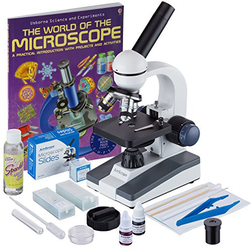 AmScope 40X-1000X Cordless Student Microscope with Slide Preparation Kit and World of The Microscope Book M150C-SP14-CLS-50P100S-WM