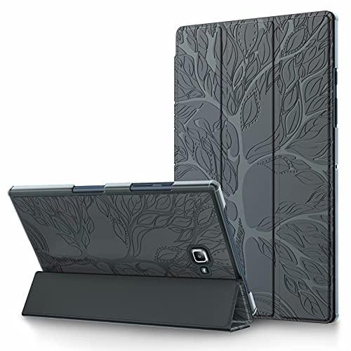 TTNAO Funda para Samsung Galaxy Tab A 10.1 2016 T580/T585 Cuero PU Premium Carcasa Tablet Carcasa Auto Reposo/Estela Ranuras Diseño Anti-rasguños Case,Avanzado Arbol de la Vida Gris