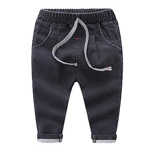Wanlianer Baby- und Jungenjeans Die Kinder-Babyjeans-Hose mit elastischer Taille (Farbe : Schwarz, Größe : 110cm)