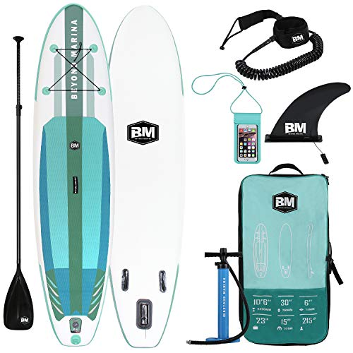 Beyond Marina Ultra-Light Inflatable Stand Up Paddle Board 10'6'' Long 6' Thick SUP Paddle Board W Premium Carbon Paddle, Dual Action Pump, Leash, Waterproof Backpack, Mint Green