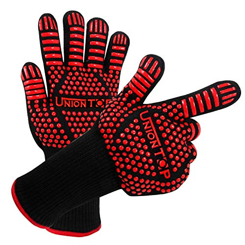 UNIONTOP BBQ Oven Gloves 1472℉/800℃ Heat Resistant,Grill BBQ Gloves for Men,Silicone Non-Slip Kitchen Oven Mitts,Hot Cooking Gloves for Grilling,Frying,Baking,Welding,Fireplace,Red,A pair