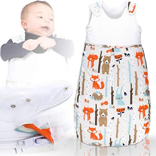 Schlafsack/Winterschlafsack (100% Baumwolle) mit (Membran-Einsätze) Baby Kind (110 cm, Waldtiere)