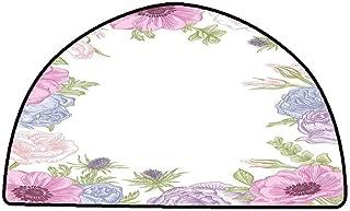 Rug Bathroom Mat Anemone Flower,Hand Drawn Framework with Fresh Summer Flora Bridal Wedding Theme,Pink Light Blue Green,W35 x L24 Half Round Carpet Flooring
