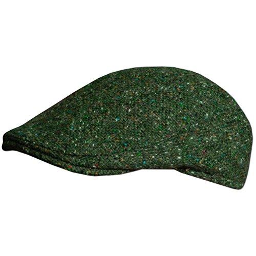 Traditional Irish Tweed Flat Cap, Made in Donegal Ireland, Green, Large