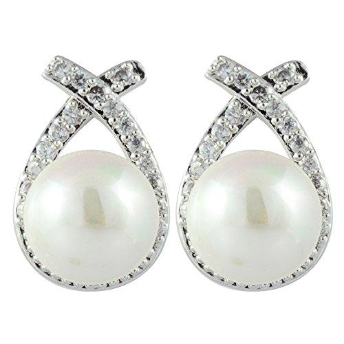 RIZILIA Stud Pendientes Piercing Aretes con Corte Redondo Cristal [Crema de perlas de marfil] en 18K Chapado en oro blanco, Elegancia Moderna Sencillo