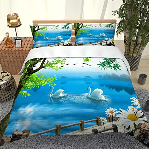 PKTMK bedding - Duvet Cover Set Microfiber Quilt Cover with 2 Pillowcases 3D Lake swan natural landscape Comfortable Lightweight Breathable Bedding Set Single 135x200cm