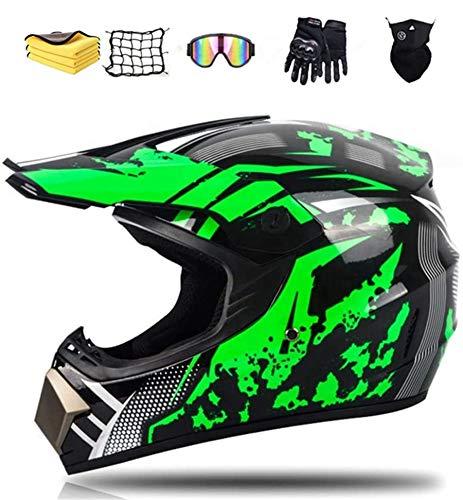 Motocross Helm Set, Fullface MTB Helm Kinder Cross Helm Motorradhelm, mit Brille Handschuhe Maske Korallenvlies Handtuch Motorrad Netz (L)