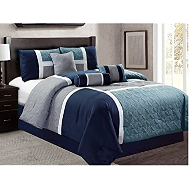 Luxlen 7 Piece Luxury Bed in Bag Closeout Comforter Set, King, Grey/Blue