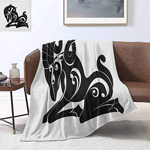 Zodiac Aries Beach Blanket Abstract Monochrome Goat Figure Swirled Horns and Floral Curly Details 50x70 Inch Light Weight Living Room/Bedroom Warm Blanket