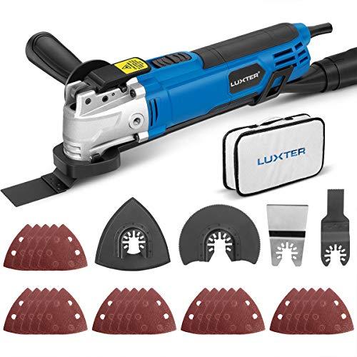 LUXTER Herramienta multifunción, oscilador herramienta oscilante Multiherramienta 300W 6 Velocidades ajustables para extracción, raspado, corte, pulido con 34 accesorios y bolsa
