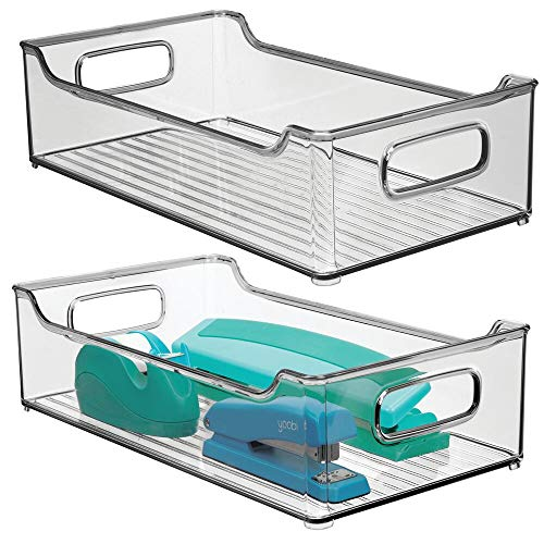 mDesign Juego de 2 cajas de almacenaje con asas integradas – Cajas organizadoras para cocina, baño o material de oficina – Organizador de escritorio en plástico – gris humo