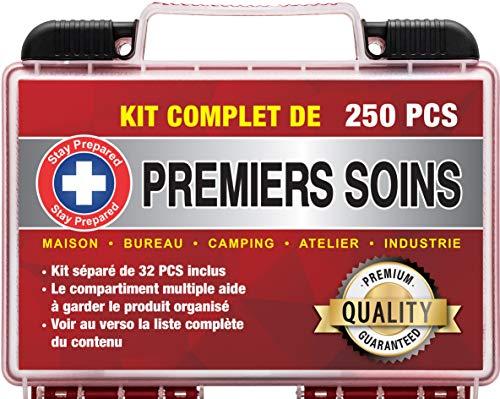 Stay Prepared 250 Pièces Trousse de Premiers Soins Ultra Complète Premium First Aid Kit pour Urgence en Milieu Professionnel, Entreprise, Voiture, Maison, École, Camping (25 cm x 20 cm x 7,5 cm)