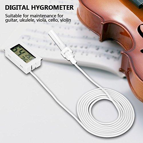 2Pcs Thermomètre Hygromètre Numérique Intérieur / Extérieur Guitare Hygromètre Humidificateur Température Humidité Moniteur replacement pour Violon Guitare Ukulélé(Blanc)