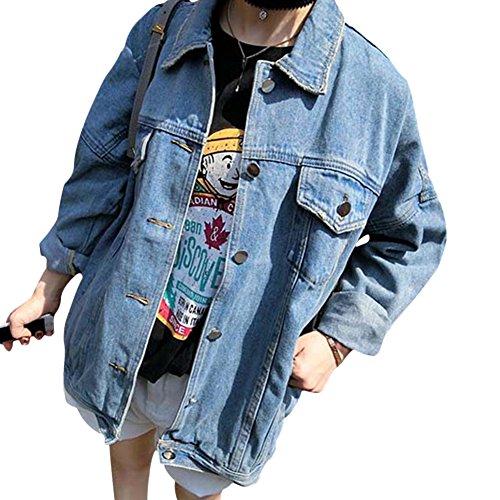 Qitun Donna Giacca di Jeans Manica Lunga Lavato Denim Cappotto Fidanzato Jeans Jacket Giubbotto L