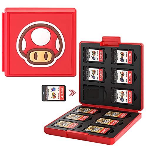 Giochi Custodia Porta Cartucce di Gioco per Nintendo Switch Lite PS Vita e Schede SD,Portatile e Sottile Organizzatore Card Giochi, Custodia Giochi Scatola Adatto a 24 Giochi (Fungo)