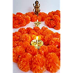 Artificial Marigold Flower Garlands 5 Feet Long for Parties Indian Weddings Indian Theme Decorations Home Decoration Photo Prop Diwali Indian Festival