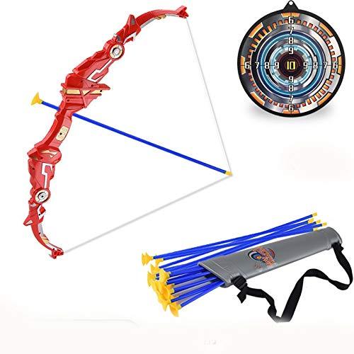 Tiro con Arco para niños Juguete Arco y Set Flecha Objetivo Tubo Niño Tiro Deportes Flecha Palo Lechón Flecha PlegableRed