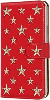 手帳型 カードタイプ スマホケース LG V20 PRO L-01J 用 [スタッズ風・レッド金星] 星柄 スター 3D柄 エルジー ブイトゥエンティ プロ docomo スマホカバー 携帯ケース スタンド stud 00r_106@06c