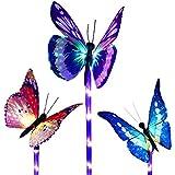 Luci solari da giardino a forma di farfalla che cambiano colore, a energia solare, confezi...