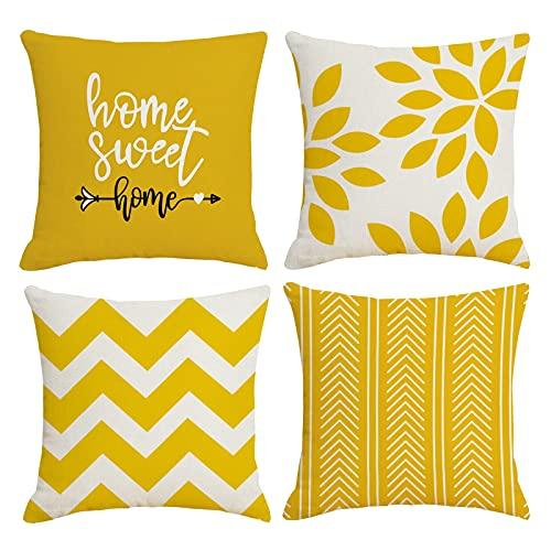 ZWJD Fundas de almohada decorativas para sofá cama, juego de 4 fundas de cojín de tela de lino al aire libre (40 x 40 cm), color amarillo