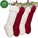 LimBridge Christmas Stockings, 4 Pack 18 inches Large Size Cable Knit Knitted Xmas Rustic Personalized Stocking Decorations for Family Holiday Season Decor, Cream or Burgundy