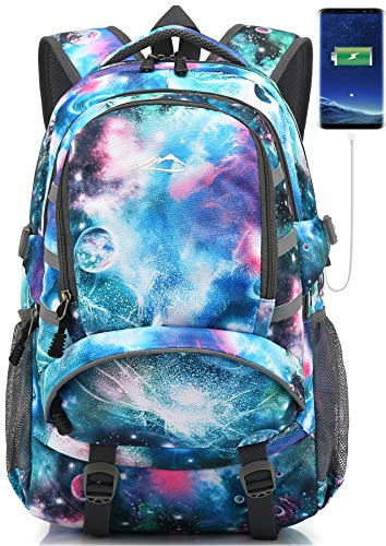 School Backpack with USB Charging Port Travel College Student Business Bookbag (Galaxy F (Light Blue))