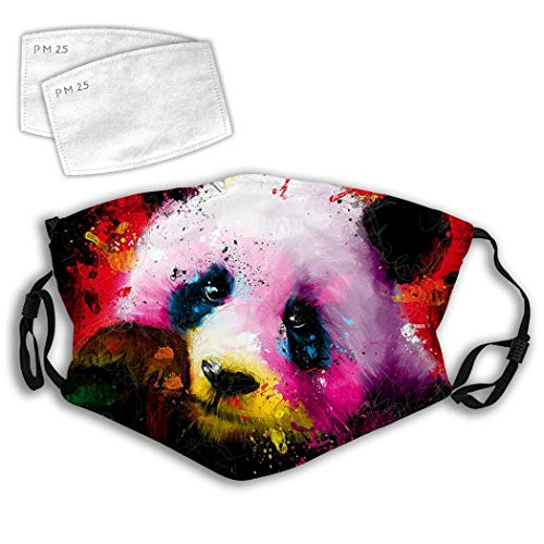 QWOPLK Panda Animal Abstract Art Colorful 3D Print Pattern Adjustable Comfortable Face Decorations Can Be Washed and Reused Unisex