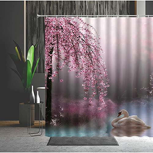 Duschvorhang 180X180 Schwan Pfirsichblüte Duschvorhang Anti-Schimmel & Wasserabweisend Shower Curtain, Duschvorhänge mit 12 Haken,Duschvorhang Textil Waschbar,Polyester