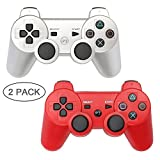 Autker PS3 Controller Wireless 2 Pack Playstation 3 Controller Double Vibration for PS3 with 2 Charging Cable (Silver+Red)