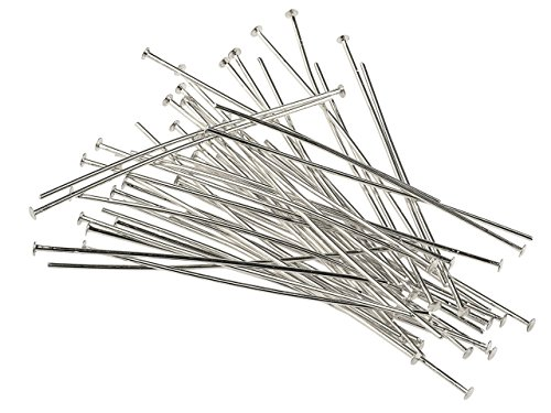 Cooksongold 50 Pc. Silver Plated 50mm Flat Head Pins, 2.15mm Ø