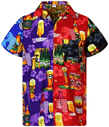 V.H.O. Funky Hawaiian Shirt, Shortsleeve, Mondy Beerbottle, Multicoloured, M