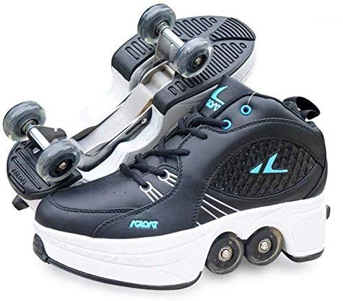 WEDSGTV Schuhe Roller,Roller Sneakers Schuhe Räder, Quad Roller Pulley Schlittschuhe Für Erwachsene Outdoor-Sportarten,Black-43