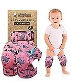 Simply Kids pads rodilla del bebé para el rastreo (2 pares) | protector para el niño, niño, niña, niño (rosa tiburón)