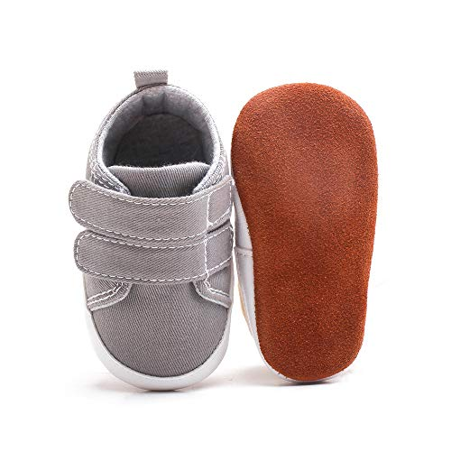 Infant Baby Boy Shoes High Top Toddler Sneakers Canvas Soft Sole Newborn Shoes for Baby Girls(6-12 Months M US Infant,A-Dark Blue)