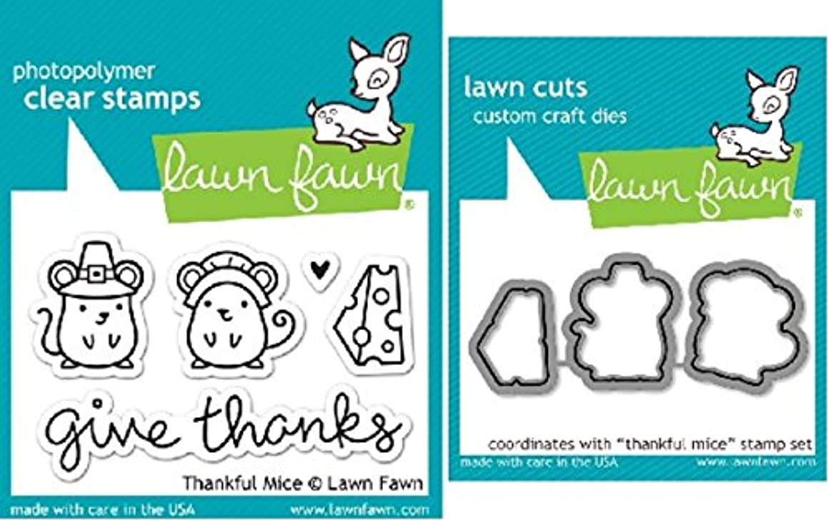 Lawn Fawn Thankful Mice Clear Stamp and Die Set - Includes One Each of LF936 (Stamp) & LF937 (Die) - Bundle Of 2