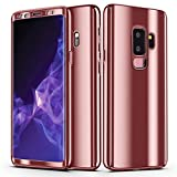 Galaxy S9 Plus Case, Ultra Slim Electroplate 360 Degree Full Body Protection Mirror Case with Tempered Glass Screen Hard PC Protector for Samsung Galaxy S9 Plus (Rose Gold)