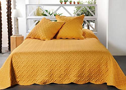 Linder - Colcha de Cama, 100% poliéster, Color Amarillo, 250 x 260