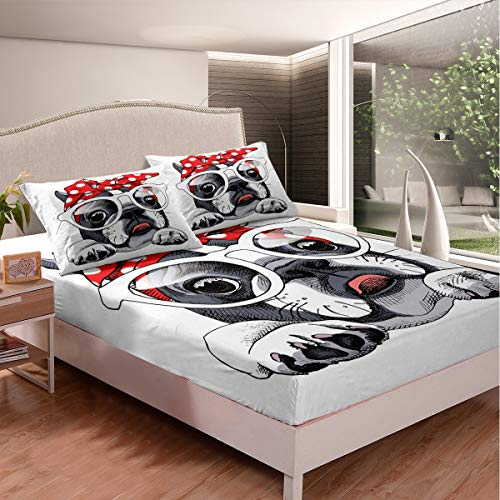 Full Size French Bulldog Bed Sheet Set for Boys Kids Child Girls Bedroom Cute Dog Fitted Sheet Lovely Pet Animals Printed Bedding Set Cartoon Funny Pattern Bed Cover Decor 3 Pcs