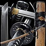 apanese Samurai Sword Full Tang Katana 1060/1095 Damascus Folded Steel/Heat Tempered/Clay Tempered,Battle Ready Real Sword.Tsuba Copper