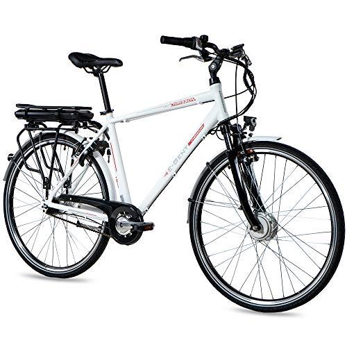 CHRISSON 28 Zoll E-Bike Trekking und City Bike für Herren - E-Gent weiß mit 7 Gang Shimano Nexus Nabenschaltung - Pedelec Herren mit Ananda Vorderradmotor 250W, 36V