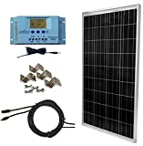WindyNation 100 Watt Solar Panel Off-Grid RV Boat Kit with LCD PWM Charge Controller + Solar Cable + Connectors + Mounting Brackets