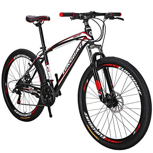 Eurobik OBK 27.5 Wheels Mountain Bike Daul Disc Brakes 21 Speed Mens Bicycle Front Suspension MTB (Red Aluminium Rims)
