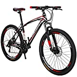 Eurobik OBK 27.5 Wheels Mountain Bike Daul Disc Brakes 21 Speed Mens Bicycle Front Suspension MTB (Red Aluminium Rims)